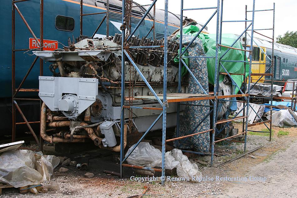Ex-50008 power unit being rebuilt