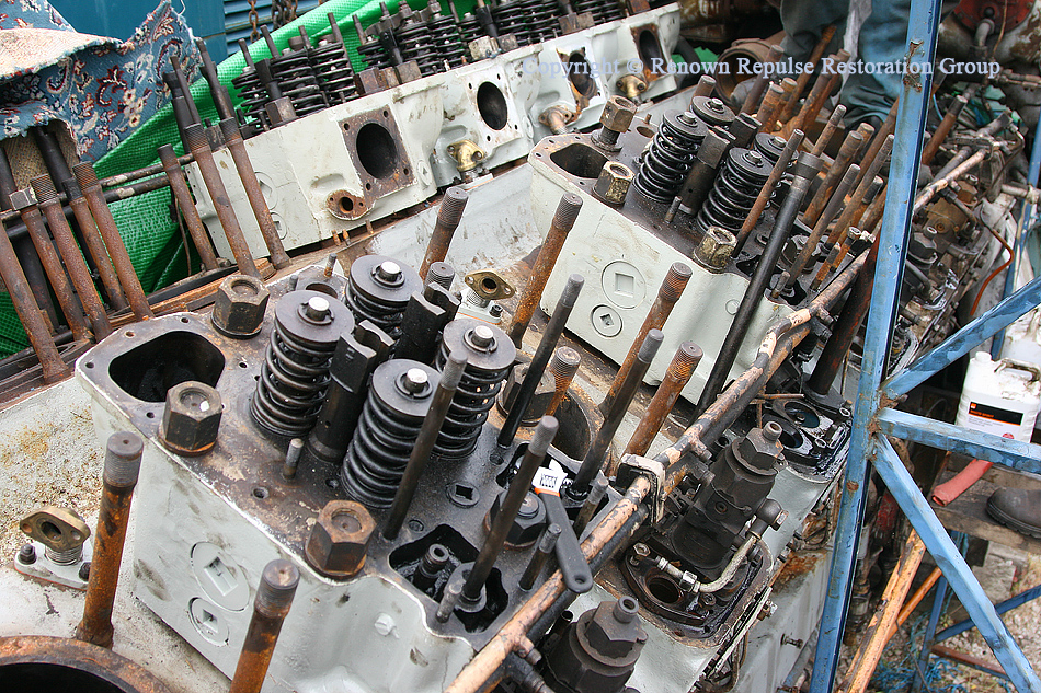 Refurbished cylinder heads fitted to ex-50008 power unit