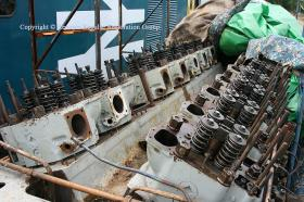 50008 power unit cylinder heads being fitted