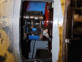 Traction motor blower overhauled brush gear seen in closeup