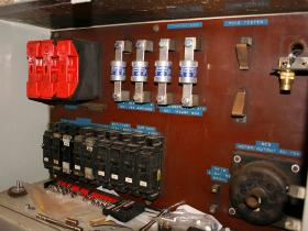 Fuse board with newly fitted fuses in 50030