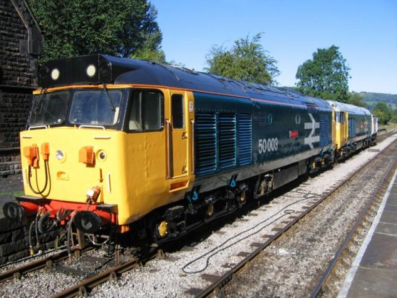 50003 and 50030 at Darley Dale September 2005